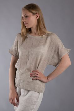 Linen T- shirt / Loose Linen Blouse /Washed Linen Flax Top   Made with 100% pure Washed softened linen.  Pre-washed linen is chic and creases with
