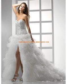 Luxuriöse sexy Brautkleider aus Organza und Satin mit Perlen Herzausschnitt
