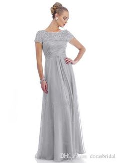 A-Line/Princess Scoop Neck Floor-Length Ruffle Lace Beading Chiffon Zipper Up Sleeves Short Sleeves 2015 Silver Spring Fall Winter General Mother of the Bride Dress Mother Of The Bride Dresses Long, Mother Of Bride Outfits, Mothers Dresses, Bride Groom Dress, Bride Gowns, Mob Dresses, Bridesmaid Dresses, Wedding Dresses, Party Dresses