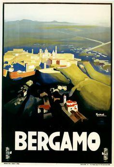 Vintage Bergamo travel poster.