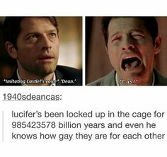 Luci needs to work on his deep cover skills. It only took a few meetings for Sam to figure out it wasn't Cas.