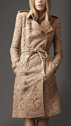 Long Lace Trench Coat - Burberry