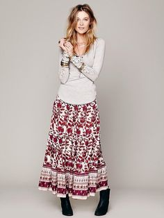 Maxi skirt and ankle boots