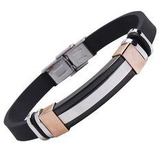 R&B Schmuck Herren Armband Edelstahl - Italienischer Stil, Mit Kautschuk (Schwarz, Weiß, Bronze): 23,90€