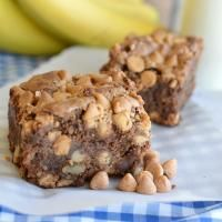 Peanut Butter Banana Brownie Bars on MyRecipeMagic.com. These are thick and so delicious!