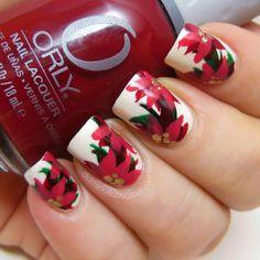 Christmas poinsettia nails