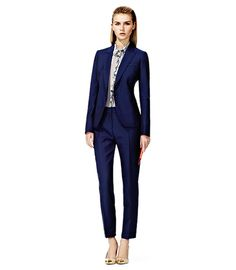 ASYMMETRIC FORMAL JACKET & PANT - blue! I'm telling you, crop pans = the way to go.