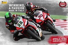 #Aprilia is manufacturer #World Champion for the second year in a row, a testament to the power of the #RSV4. #Aprilia wins the #Brand #Championship by a wide margin with 550. This makes 52 #World #Championship titles now, 5 in the last four years of #WSBK.