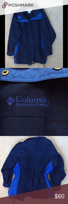 90's Blue Women's Columbia Sportswear Ski Jacket Bought this jacket to wear during a Colorado winter, it was warm and looked really cute while on. 😍 Blue and light blue Columbia Sportswear Ski jacket with name on right chest and left sleeve. Condition: Vintage form the 90s and preowned. No major flaws. Waist: Elasticized Waist with Drawstring Cuffs: Adjustable Straps Pockets: 4 Exterior zipper pockets, and one interior zipper pocket Columbia Jackets & Coats Utility Jackets