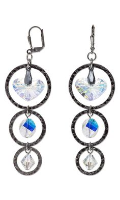 Earrings with Swarovski Crystal Beads and Drops and Gunmetal-Plated Steel Components - Fire Mountain Gems and Beads