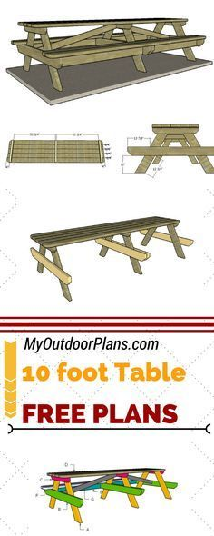 Check out free plans for building a 10 foot picnic table - Step by step instructions and detailed diagrams at MyOutdoorPlans.com #diy #picnictable