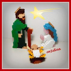 3D Christmas Nativity hama beads by cr3stinayoutube