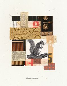 day 309 collage (comp #5) :: bits of scrap images + papers, little illo of a squirrel, pencil; glued. #collage #cutandpaste #design