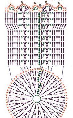 Corbeilles - Fleurs Et Applications Au Crochet - Diy Crafts Crochet Diagram, Crochet Chart, Crochet Motif, Crochet Doilies, Crochet Stitches, Lampe Crochet, Crochet Diy, Crochet Home, Crochet Gifts