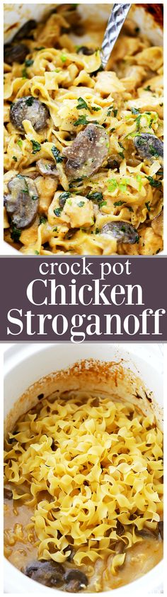 Crock Pot Chicken Stroganoff - Creamy, incredibly delicious and SO easy to make! Just place all ingredients in the crock pot and walk away. Even the noodles get cooked in the crock pot! (Chicken Thighs In The Crockpot) Crock Pot Food, Crockpot Dishes, Crock Pot Slow Cooker, Slow Cooker Recipes, Cooking Recipes, Crock Pots, Crock Pot Chicken Stroganoff Recipe, Pollo Stroganoff, Le Diner