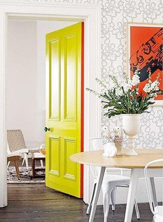 Take a peek at our favorite yellow doors from around the web. As an interior or exterior accent, this bright hue is bound to shake up your home with color. For more paint and color ideas and home design trends go to Domino. Diy Interior Doors, Door Design Interior, Interior Paint, Yellow Interior, Front Door Paint Colors, Painted Front Doors, Porta Diy, Do It Yourself Design, Modern Hallway