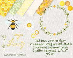 Digital watercolor clipart, Bee My Honey, honeycomb backgrounds, camomile wreath, digital clipart, hand painted clipart, floral clipart