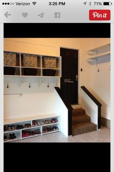 """Mud room in garage. I want an indoor mud room too. but the more I think about it, I don't want """"mud"""" in my house. so maybe one in my garage could be intended for bloody, muddy hunting clothes/boots Mud Room Garage, Diy Garage, Garage Entryway, Garage Lockers, Garage Mudrooms, Garage Steps, Garage Workbench, Garage Walls, Dream Garage"""