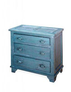 Camryn Casual Denim Blue Wood Industrial Chest