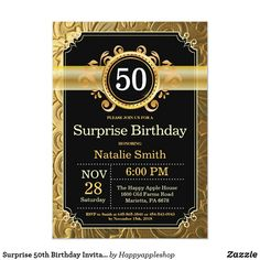 Surprise 50th Birthday Invitation Black and Gold Birthday Woman, 80th Birthday, Women Birthday, Gold Birthday, Surprise Birthday, Birthday Parties, Disney Birthday, 13th Birthday Invitations, Party Invitations