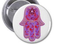 Hamsa Chai Star of David button