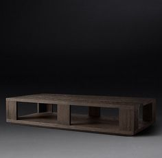RH Modern's Hayes Rectangular Large Coffee Table:Revisiting the bold aesthetic of 1970s postmodern design, our solid oak table designed by the Van Thiels boasts clean lines and geometric proportions. A recessed base gives it the illusion of floating just off the ground.