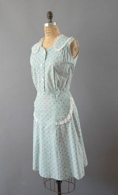 1940s Dress / Mint House Dress / 40s by wildfellhallvintage, $72.00