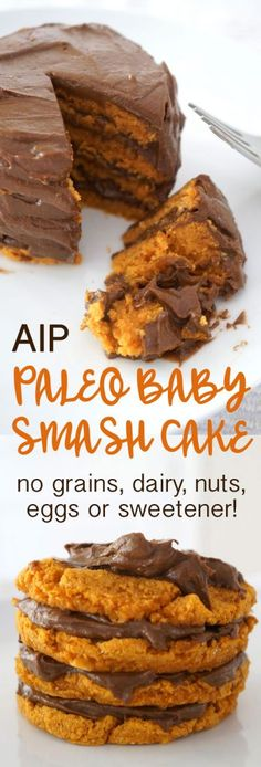How cute is this grain-free, gluten-free, egg-free dairy-free Paleo Baby Birthday Cake made from sweet potato and coconut flour!? It's AIP friendly too!