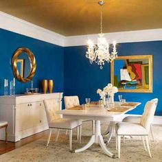 Benjamin Moore Blueberry On Walls With Fool S Gold Ceiling Blue Dining Room Paint