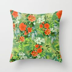 Tropical Garden Throw Pillow #art #home #pillows #tropical #flowers #summer