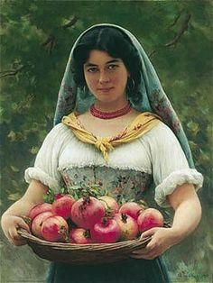 Eugene de Blaas (1843-1932) 'Girl with Pomegranates'