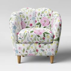Myna Tufted Arm Chair with Brass Legs - Opalhouse™ Living Room Chairs, Living Room Furniture, Upholstered Accent Chairs, Floral Chair, Floral Accent Chair, Glider And Ottoman, Wood Arm Chair, Velvet Armchair, Barrel Chair