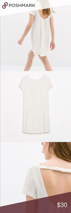 Zara White Dress Bow on Back Size S Zara White Dress Bow on Back Size S Zara Dresses