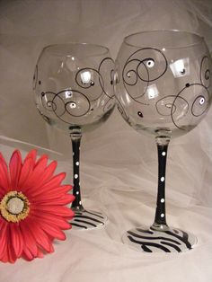zebra wine glasses with swirls and polka dots  -