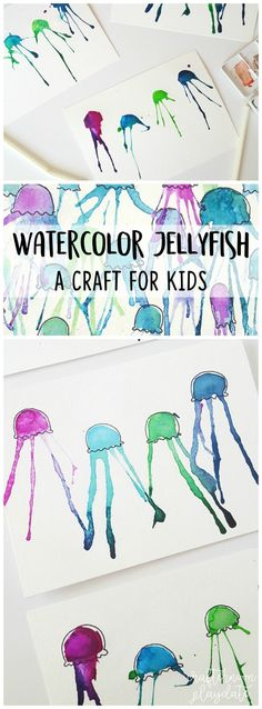 The Beach: Watercolor Jellyfish Paintings | Ocean Crafts for Kids Jellyfish Kids, Jellyfish Quotes, Jellyfish Drawing, Watercolor Jellyfish, Jellyfish Painting, Beach Watercolor, Jellyfish Aquarium, Jellyfish Tattoo, Jellyfish Sting