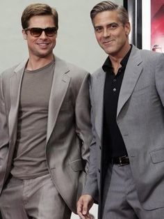 Good lord these guys are looking good! pr Brad Pitt and George Clooney ~ sigh... #BradPitt