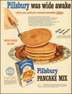 1950 vintage ad for Pillsbury Pancake Mix - 1950 ad for Pillsbury Pancake Mix - Retro Advertising, Retro Ads, Vintage Ads, Vintage Advertisements, Vintage Posters, Vintage Food, Retro Recipes, Vintage Recipes, 60s Food