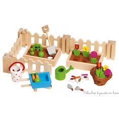 32 accessoires Mon petit Jardin de maison de poupée en bois Goki 3 ans+