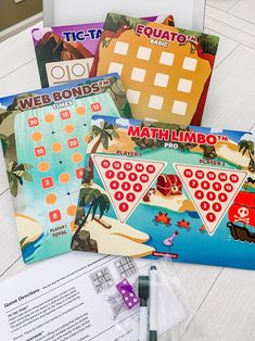 Our Power Pack of Math Games are super fun for summer travel, the classroom, or games at home! #mathgames #commoncore #mathstandards #elementarymath #math Math Board Games, Math Games For Kids, Fun Math, Pattern Recognition, Fact Families, Ten Frames, Elementary Math, Multiplication, Summer Travel