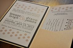 Cheeky Dots DIY Pocketfold Wedding Invitation - Save $ by assembling the invitations yourself! $4.00