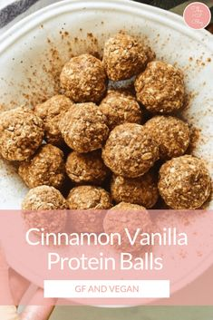 Cinnamon Vanilla Protein Balls These easy almond butter protein balls are vegan, gluten-free and can be made low carb for Healthy Protein Snacks, Protein Bites, Paleo Protein Balls, High Protein, Protein For Vegetarians, Arbonne Protein Bars, Low Carb Protein Bars, Protein Cookies, Healthy Cooking