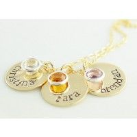 Gold Filled Disc and Birthstone Necklace - Hand Stamped Necklaces - Necklaces at Sweet Blossom Gifts