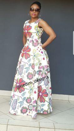 African Print Maxi Dresses @nedim _designs  +27829652653 African Fashion Skirts, African Maxi Dresses, African Clothes, African Attire, African Wear, Elegant Dresses For Women, Nice Dresses, African Print Wedding Dress, Sundress Season