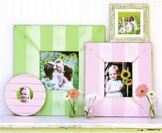 "Inspired by the beauty of time gone by, the worn and weathered handmade frames by O'Brien Schridde Designs offer a delicate balance between past and present. Wide tonal stripes lend rustic charm to this frame with a distressed finish for a one of a kind look. Choose from pink, lime, natural and taupe/sage in assorted sizes.  15""W x 17""H exterior; 5""W x 7""H interior  18""W x 20""H exterior; 8""W x 10""H interior  25"" square exterior; 11"" square interior  25""W x 28""H exterior; 11""W x 14""H interior"