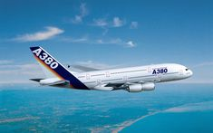 Download wallpapers Airbus A380, flying airplane, passenger plane, A380, civil aviation, Airbus