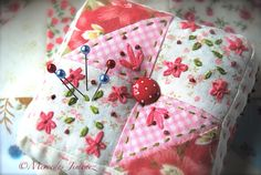quilted and embroidered pincushion