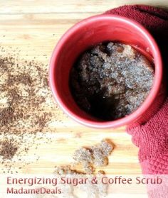My go-to scrub is olive oil, coffee, and sugar. I mix them together and use that as a scrub in the shower.   Using the leftover coffee with olive oil and egg is an awesome mask for dark hair, too! <3