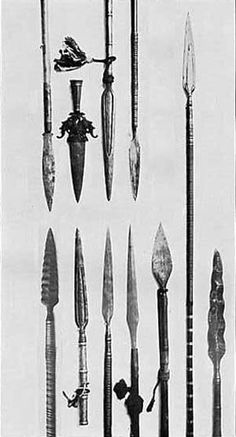 Spears: this weapon dates back to antiquity and was used for hunting and war, consisting of a shaft, usually of wood, with a sharpened head. Other weapons in the polearm class: Javelin, Pilum, Angon. Polearm class -  These weapons consisted of variations of poles  with different 'heads' including spikes, hammers, spears, axe etc.