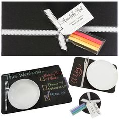 Chalkboard tableware inspires family fun! Use as place card or on a buffet to indicate the menu. Write special messages for mom and dad at dinnertime. Choose from five sizes and shapes.$20.25