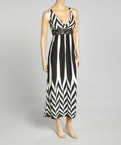 Black Zigzag Stripe Maxi Dress